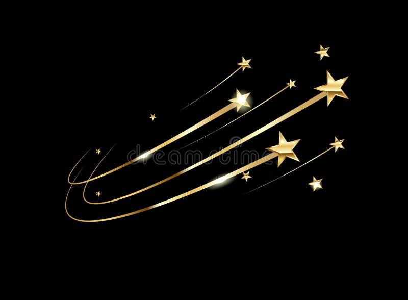 Illustration mit gelben Sternen auf schwarzem Hintergrund für Konzeptentwurf Glänzendes gelbes Blattgold des Metallgoldhintergrun lizenzfreie abbildung