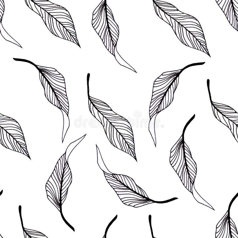 Illustration mit grafischen Blättern Naturgestaltungselemente stock abbildung