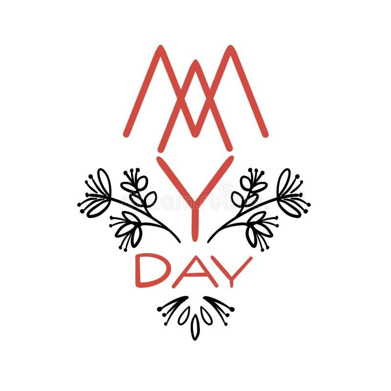 Illustration mit grafischen Blumen und Text für Feier der internationalen Arbeitskräfte Tagesam 1. mai, alias Maifeiertag lizenzfreie abbildung