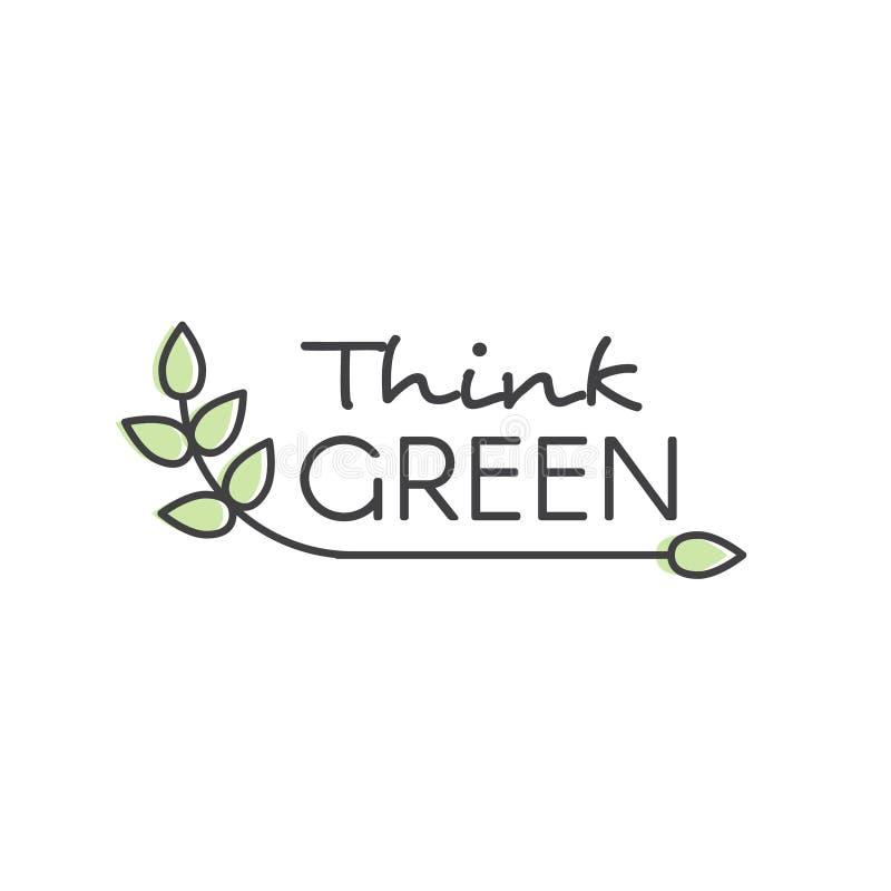 Illustration mit Hand-Beschriftungs-Text Logo Think Green Concept - Ökologie und grüne Energie lizenzfreie abbildung