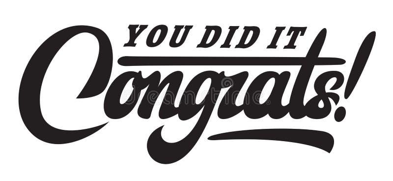 Illustration mit kalligraphischer Aufschrift congrats Vektorelement f?r Auslegung lizenzfreie abbildung