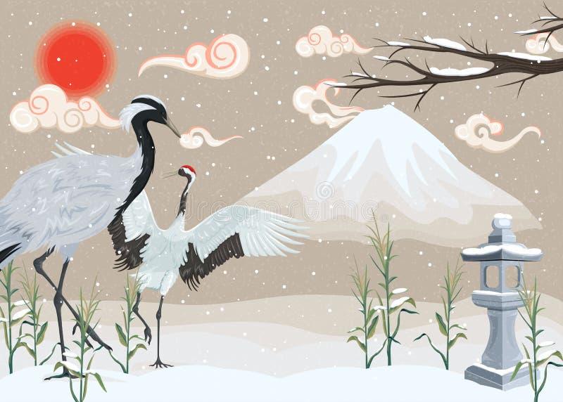 Illustration mit Kränen auf schneebedecktem Hintergrund vektor abbildung