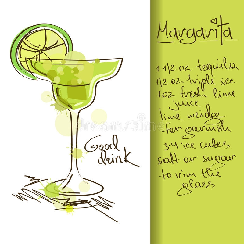 Illustration mit Margarita-Cocktail vektor abbildung