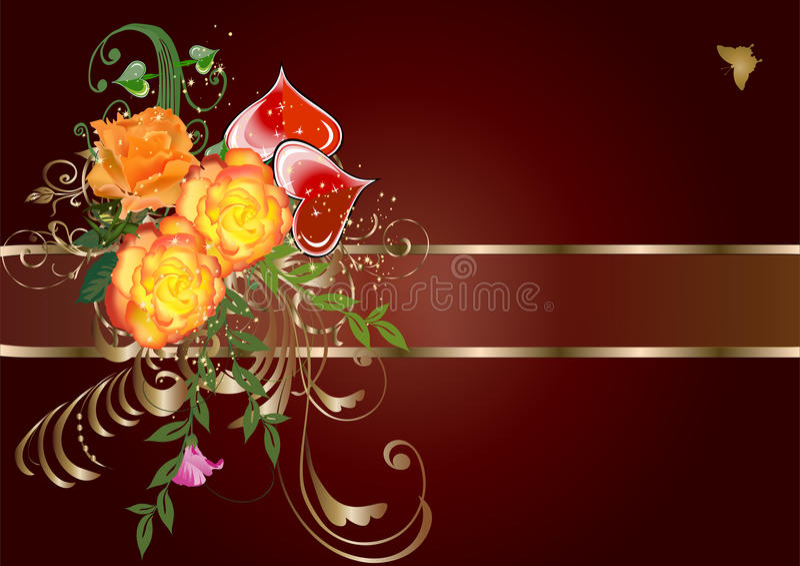 Orange Rosen und rote Herzen auf braunem Hintergrund vektor abbildung