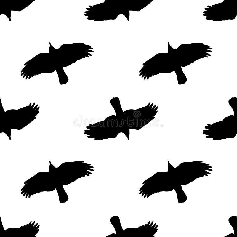 Illustration mit Raben im Vektor Nahtloses Schwarzweiss-Muster lizenzfreie abbildung