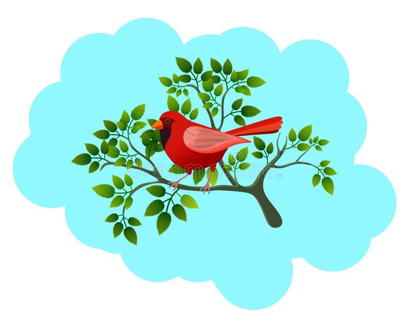 Illustration mit rotem Vogel auf dem Baumast, lokalisiert auf blauem Hintergrund vektor abbildung