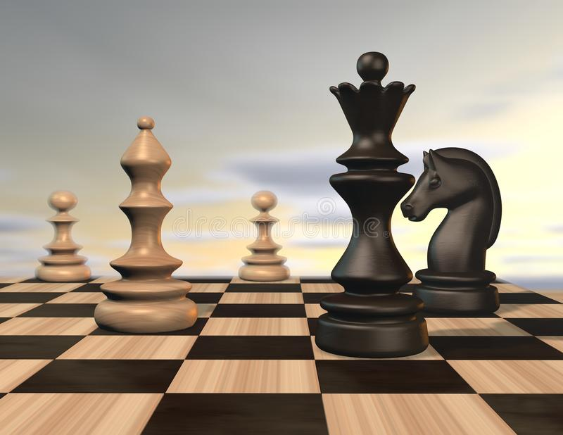Illustration mit Schachfiguren und Schachbrett stock abbildung