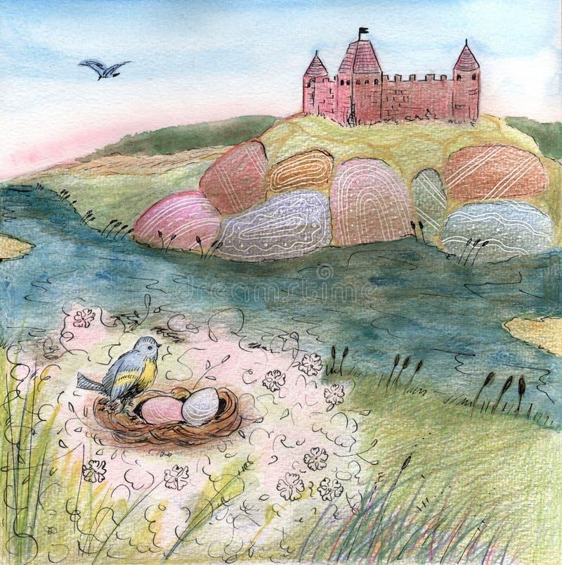 Illustration mit Schloss auf dem Hügel- und Vogelnest lizenzfreie abbildung
