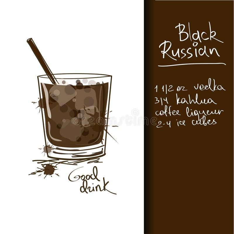 Illustration mit schwarzem russischem Cocktail stock abbildung