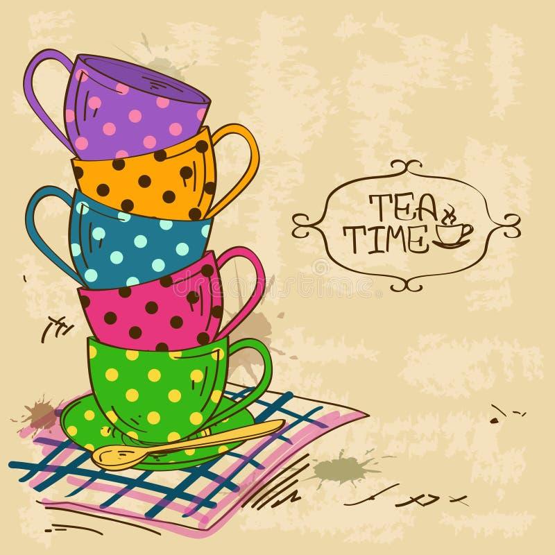 Illustration mit Stapel Teeschalen stock abbildung