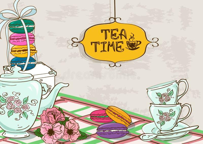 Illustration mit Stillleben des Teesatzes und der französischen Makronen stock abbildung
