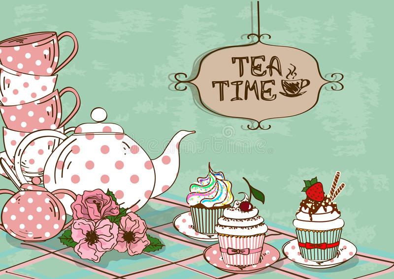 Illustration mit Stillleben des Teesatzes und der kleinen Kuchen stock abbildung