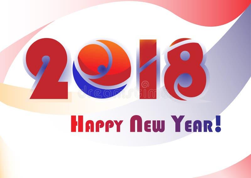 Illustration mit 2018 Vektoren des Schnees Hintergrund des neuen Jahres 2018 für Darstellungen lizenzfreie stockbilder