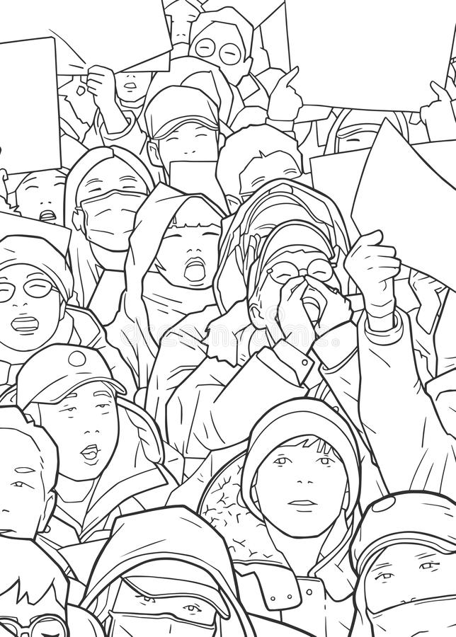 Illustration of mixed ethnic crowd protesting with blank signs. Stylized drawing of people demonstrating vector illustration