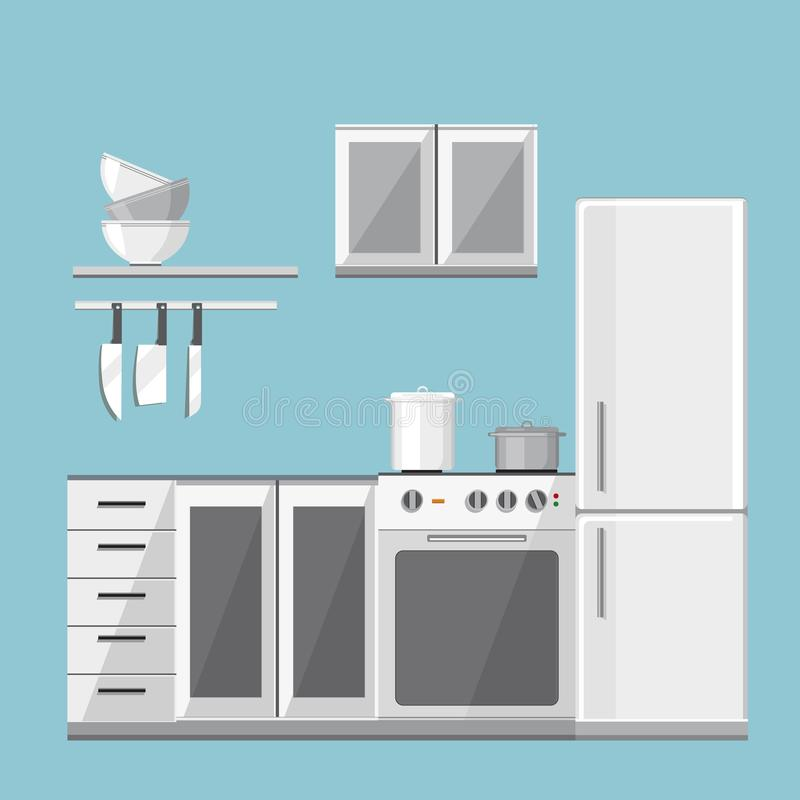 Illustration of modern kitchen with different house appliances. royalty free illustration