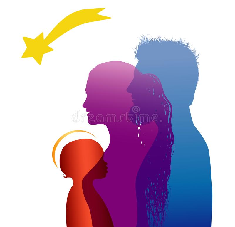 Christmas nativity scene isolated. Colored silhouette profiles with Joseph - Mary and baby Jesus in modern style vector illustration