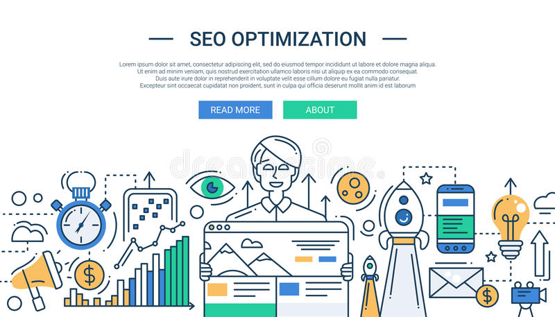 Illustration of modern SEO optimization line flat. Illustration of vector modern SEO optimization line flat design composition and infographics elements with a vector illustration