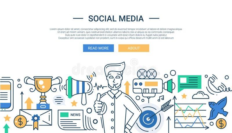 Illustration of modern social media promotion line royalty free illustration