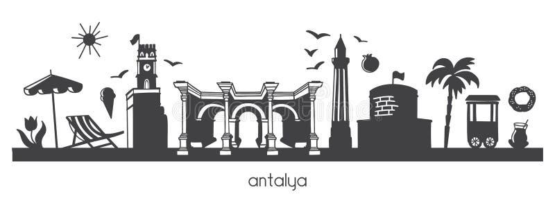 Illustration moderne Antalya, Turquie de vecteur avec des symboles turcs de griffonnage tiré par la main illustration libre de droits