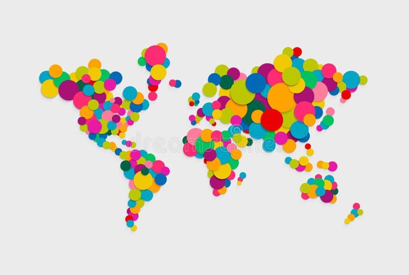 Illustration moderne de concept de couleur de carte du monde de cercle illustration libre de droits