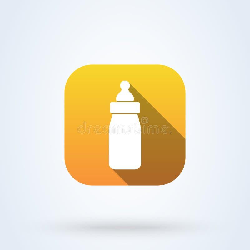 Illustration moderne de conception d'icône de vecteur simple de biberon illustration stock