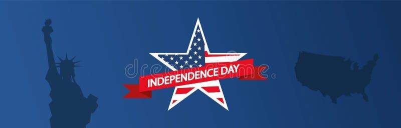 Illustration moderne de vecteur de Jour de la Déclaration d'Indépendance des Etats-Unis Célébration de quatrième de juillet aux E illustration libre de droits
