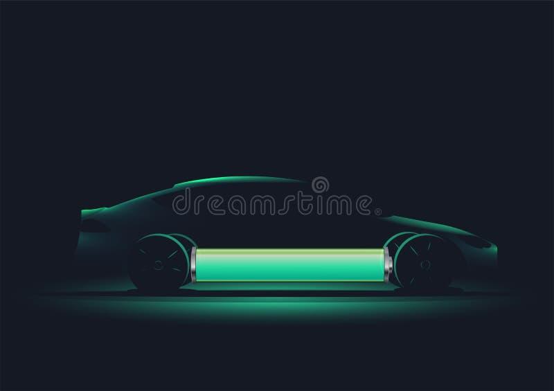 Illustration moderne de vecteur de l'électro silhouette de voiture avec la batterie chargée Illustration de vecteur image libre de droits