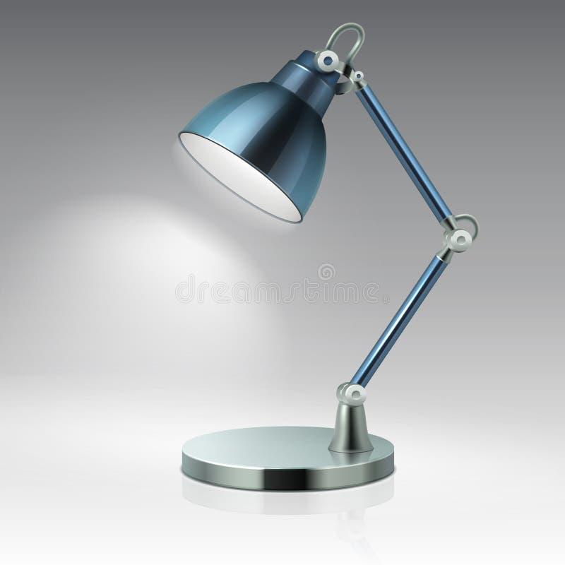 Illustration moderne de vecteur de lampe en métal de table de bureau d'isolement sur le fond blanc illustration libre de droits