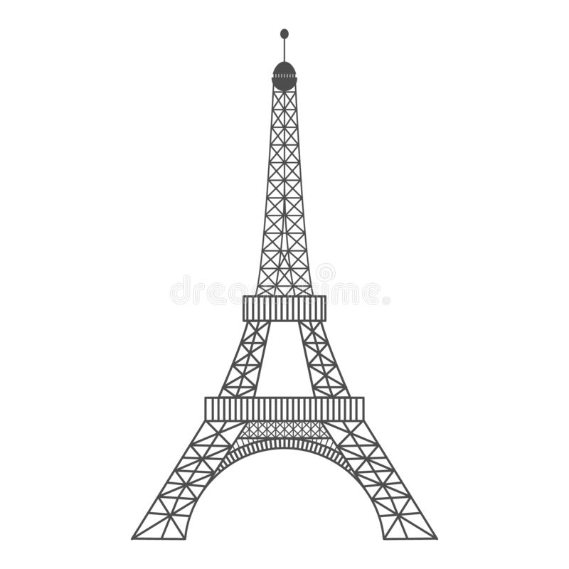 Illustration moderne de vecteur de Tour Eiffel Illustration noire de vecteur Symbole romantique en France Paris a esquissé l'imag illustration stock