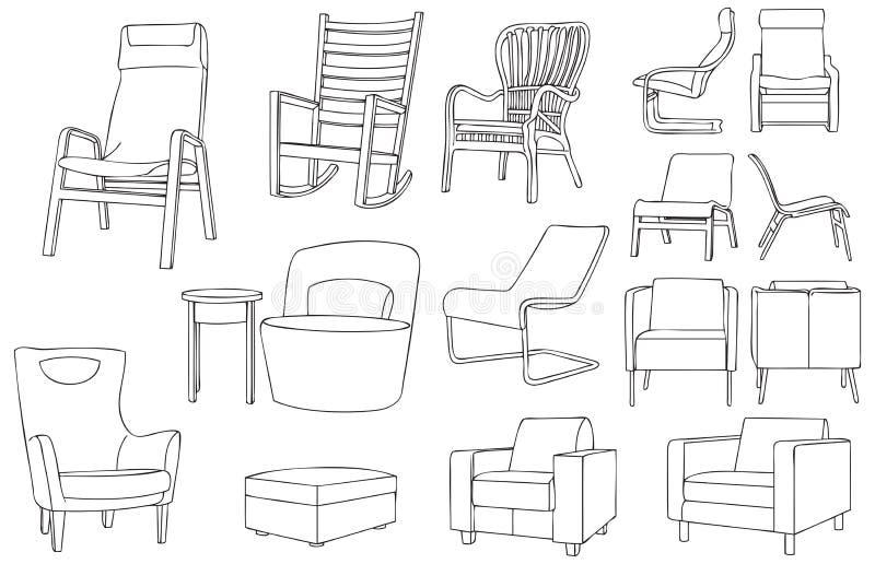 Illustration moderne et classique de vecteur d'ensemble de chaise illustration stock