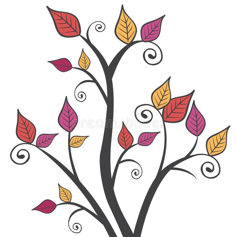 Illustration moderne lumineuse d'Autumn Leaves Branches Square Vector illustration stock