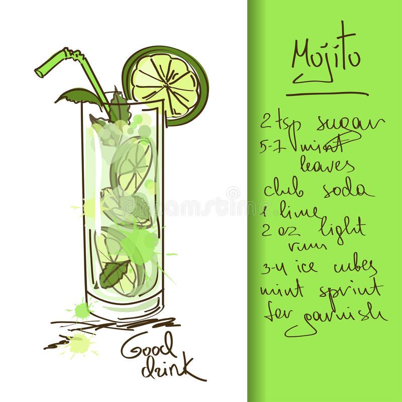 Illustration With Mojito Cocktail Stock Image