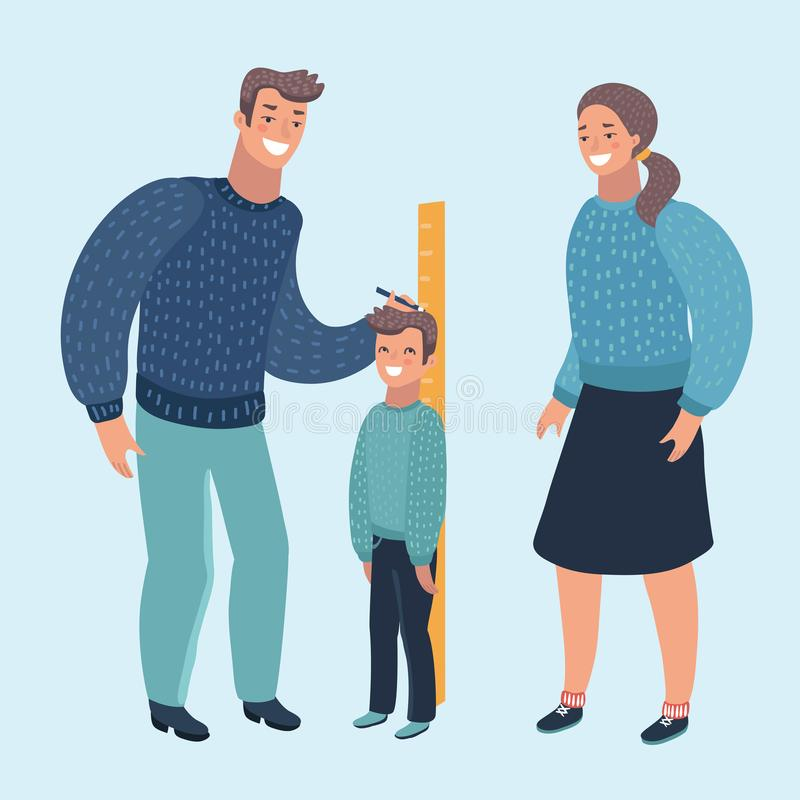 Illustration of a Mom Measuring the Current Height of Her Son. Vector cartoon illustration of a Mom and Dad Measuring the Current Height of Their Son. Human stock illustration