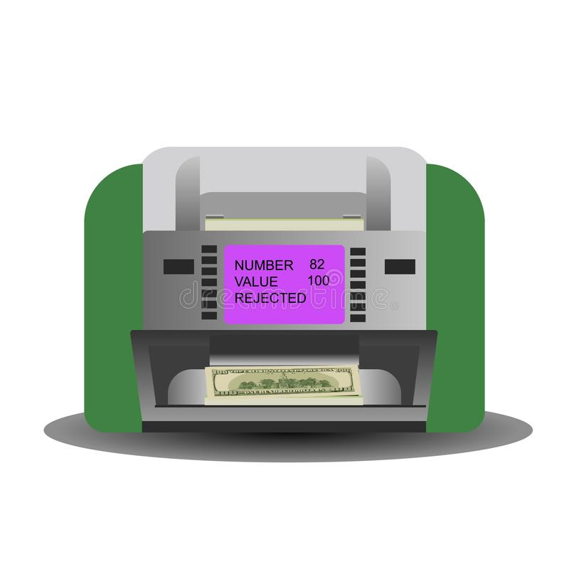 Illustration of a Money Counting Machine currently Counting Cash. Vector vector illustration