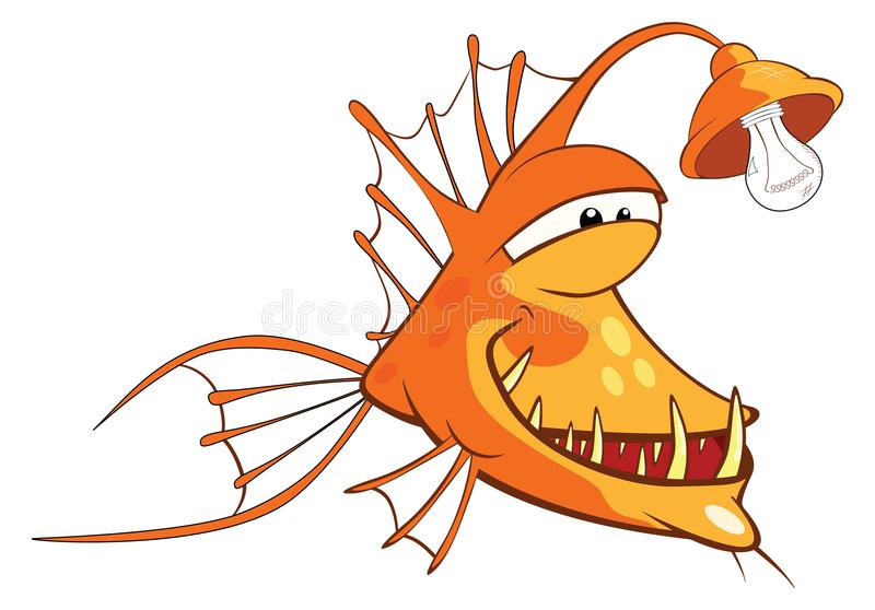 Illustration of a Monk fish. Deep-water fish. Cartoon Character vector illustration
