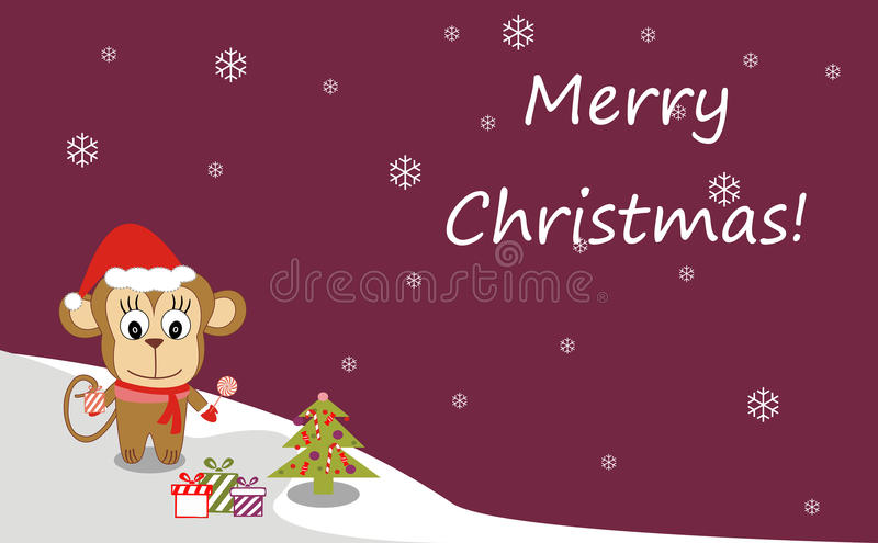 Illustration of a monkey in a Santa hat and Christmas tree stock illustration