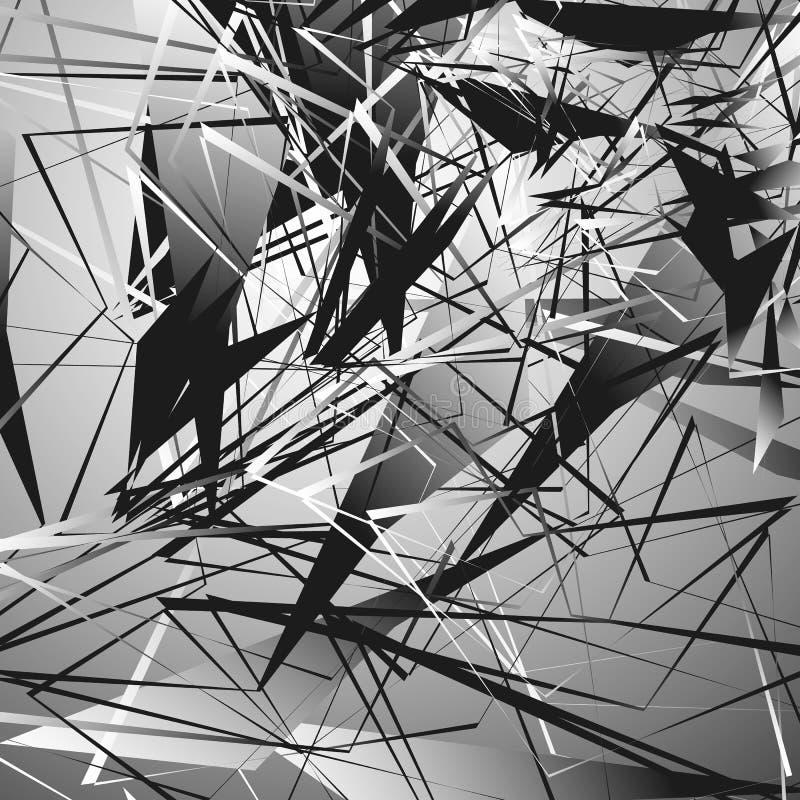 Illustration monochrome énervée avec des formes géométriques Geo abstrait illustration stock