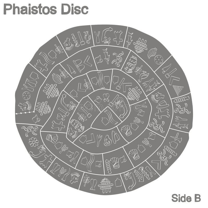 Illustration monochrome avec le disque de Phaistos illustration stock