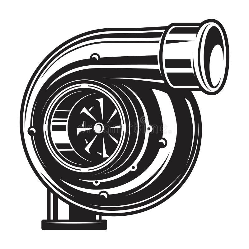 Illustration monochrome d'isolement de chargeur de turbo de voiture illustration libre de droits