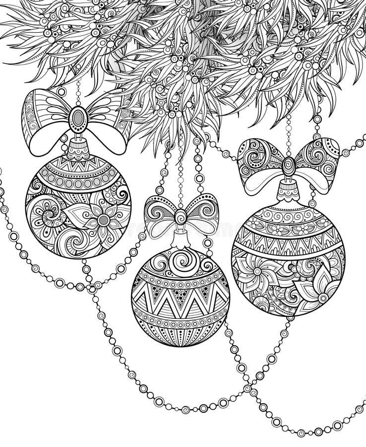 Illustration monochrome de Joyeux Noël, motif floral illustration de vecteur