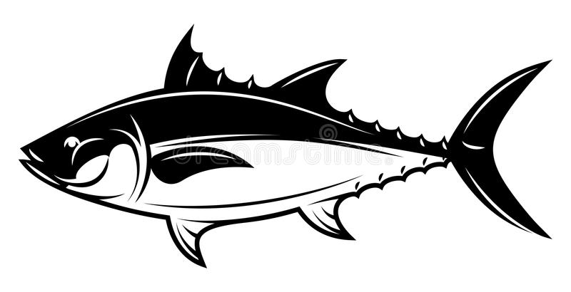 Illustration monochrome de vecteur avec le thon pour la conception de menu illustration libre de droits