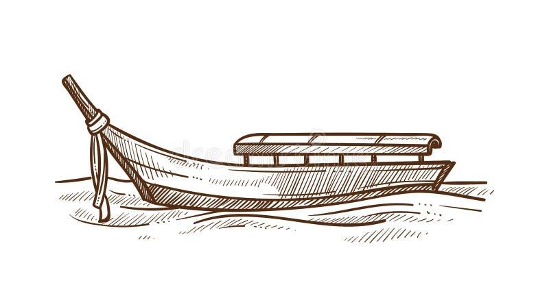 Illustration monochrome de vecteur de croquis de bateau à fond plat léger de gondole illustration stock
