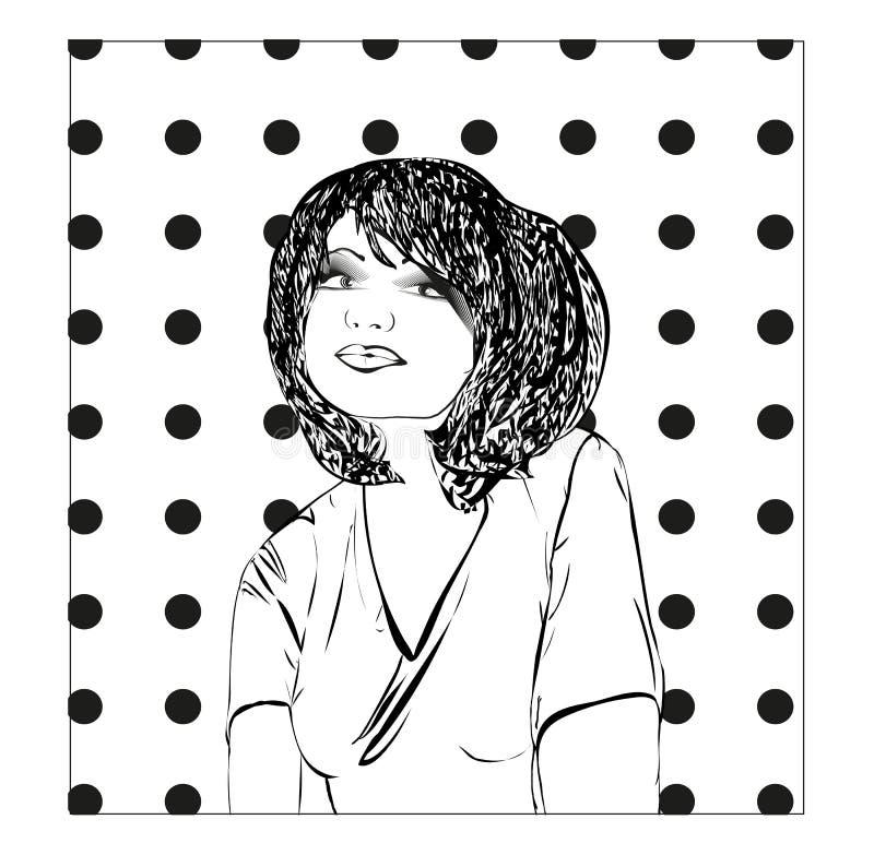 Illustration monochrome de vecteur d'une jeune femme, croquis de fille illustration stock