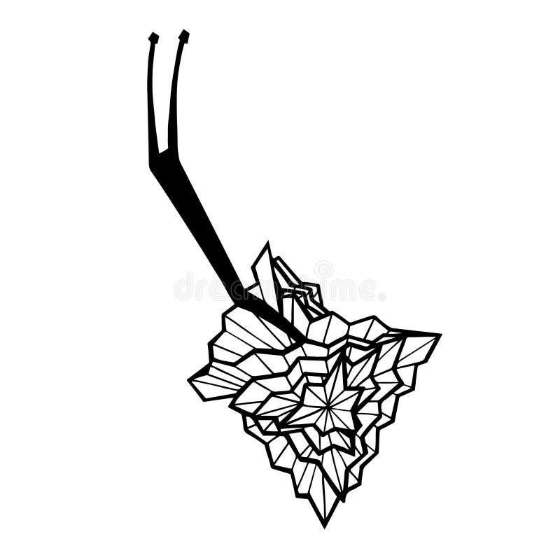 Illustration monochrome graphique avec l'escargot photographie stock