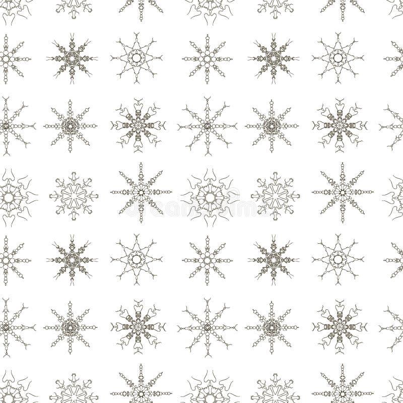Illustration monochrome sans couture de vecteur d'actions d'élément de conception de modèle de flocons de neige illustration stock