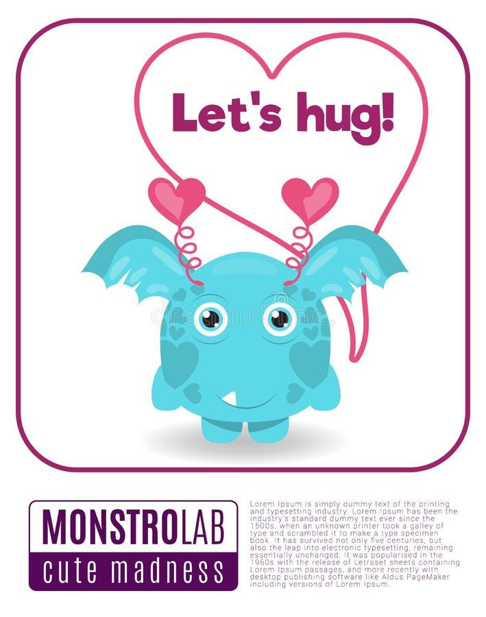 Illustration of a monster saying lets hug stock illustration