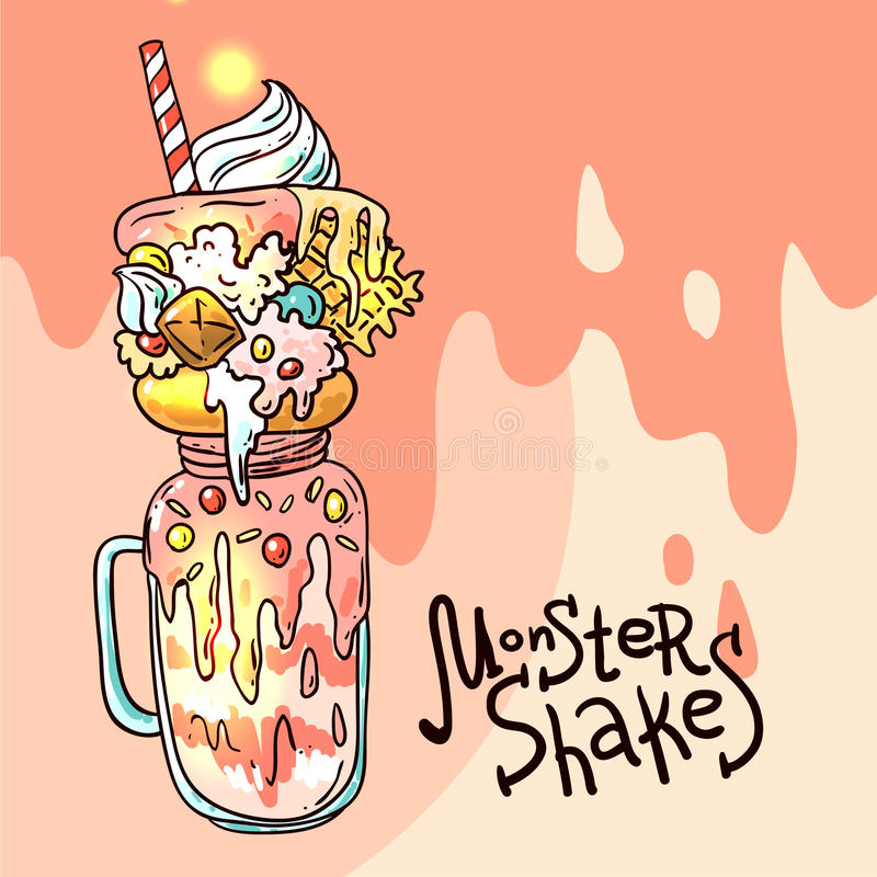 Illustration monster shake. Hand drawn vector illustration monster shake. Food sketching royalty free illustration