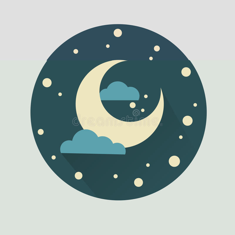 Illustration of the moon in a cartoon style. stock image