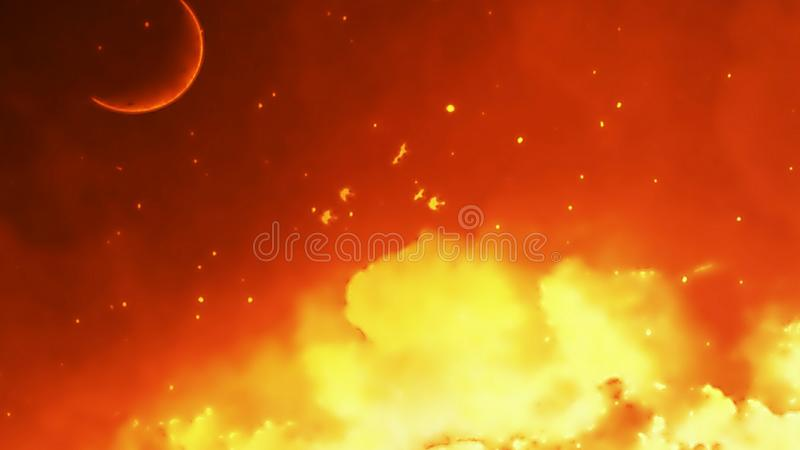 Moon and clouds background. Illustration of moon with clouds blurred background royalty free stock images