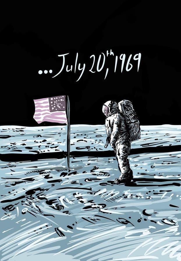 Moon landing. Illustration of the 1969 moon landing, an astronaut on the moon stock illustration
